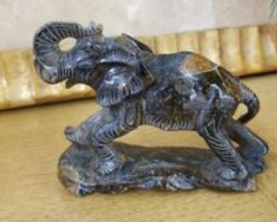 Carved Tiger's Eye Stone Lucky Elephant #345-1839