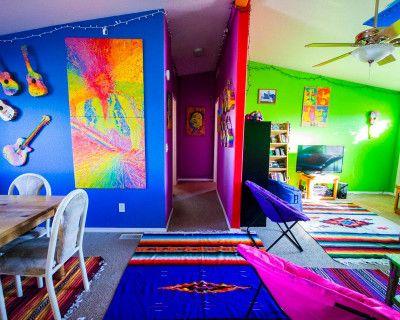 Psychedelic Rainbow Desert Ranch w/ Color Trip Trailer, Joshua Tree, CA