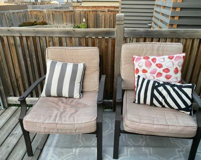 Patio set with fire table