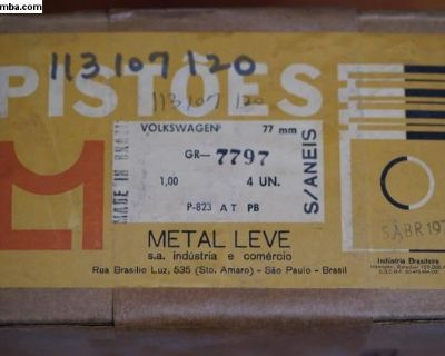 NOS Piston Set of 4 - 77mm/1.00 Metal Leve Brazil