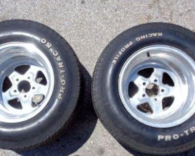 Ford Mopar 15x12 Drag Star Race Wheels W/ Pro Trac 50 Tires Rims Pair J6944