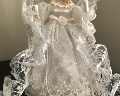 Porcelain angel treetop with lights