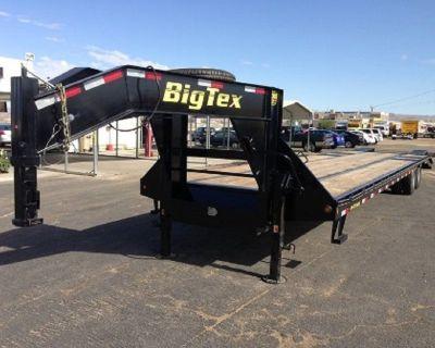 Tandem Dual Wheel Gooseneck Trailer, Big Tex Flatdeck Trailer 22GN-35+5 with Mega Ramps(MR)