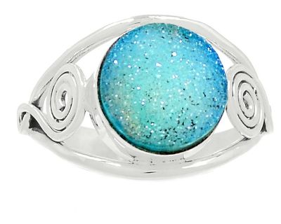 New - Light Blue Druzy 925 Sterling Silver Ring - Size 9.5