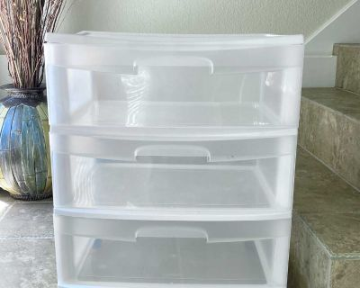 Sterilite 3 Drawer Wide Cart on Rolling Removable Casters