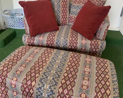 Loveseat with Large Ottoman and 4 Pillows