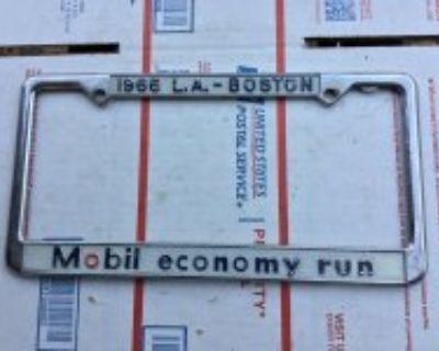 NOS Mobil economy run 1966 license plate frame, rare