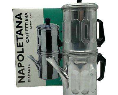 Ilsa Napoletana Espresso Coffee Maker Polished Aluminium, 6 Cups