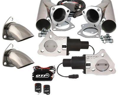 "Qtp Qtec50cpsk2 Dual 2.5"" Electric Exhaust Valves Ss Cutouts Turn Downs Remotes"