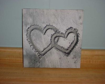 Gently Used Interlocking Hearts 11-3/4 Square Canvas Wall Box Art. Beautifully Brushed With Black, Gray & White. Stylish & Cute! $7