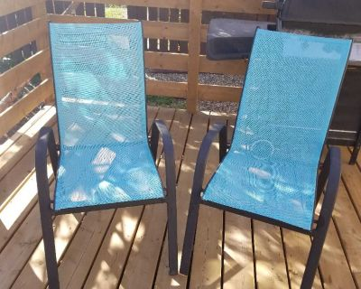 Mesh and Metal Patio Chairs