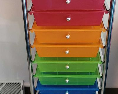 10 drawer metal cart with wheels, rainbow colors