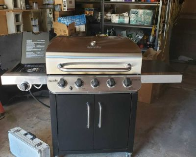 CharBroil gas grill w side burner and cover on wheels - w utensils propane tank - close to Peterson