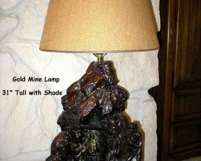 "Gold Mine Table Lamp - ""Sierra Madre Mine"" - Florentine Art Studio, Inc - 1980"