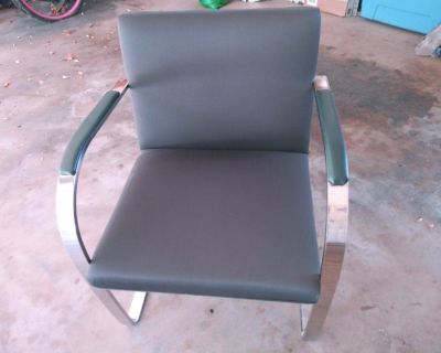 KNOLL BRNO SIDE CHAIR.  STAINLESS STEEL, NOT CHROME. SET OF 4- $4000  FOR ALL 4