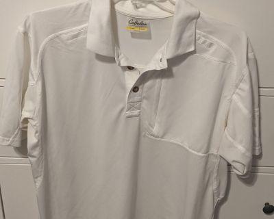 FS Cabela's Men Large Fishing Shirt White Polo