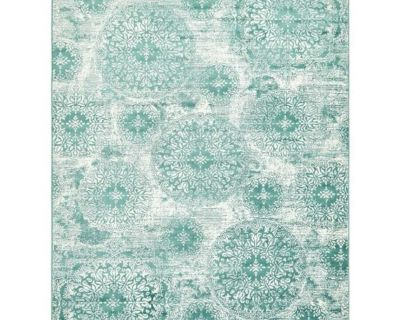 NEW - IN-PLASTIC - 8x10 - TURQUOISE DISTRESSED MEDALLION AREA RUG