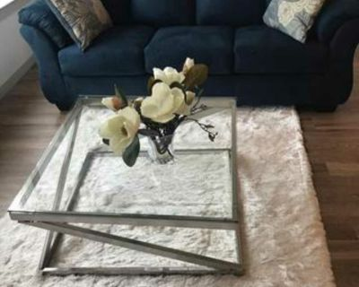 Brushed Nickel & Glass Table