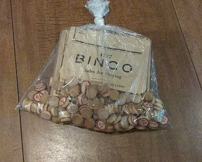Old bingo game with wooden pieces, comes with a stack of cards