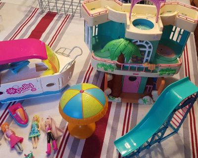 Polly Pocket boat and Fisher Price house