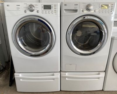 LG Tromm HE Washer and Gas Dryer Set in White