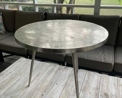 Awesome Silver Round Ballard Designs Table with 3 Legs // side table // see pics!