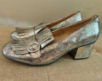 Metallic Fringe Block Heel Loafers