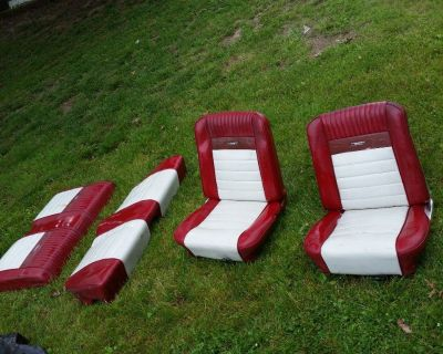 RARE Ford Mustang Deluxe Pony BUCKET SEATS Red & White 65 1964 1965 1966 REAR