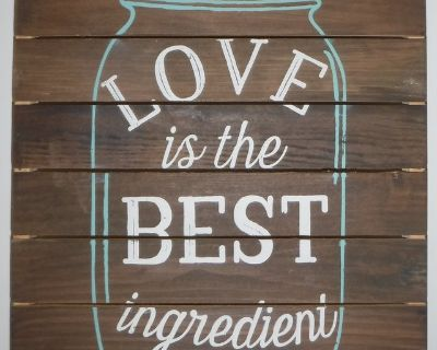 """Planked Wood Wall Art """"Love is the Best Ingredient"""" over a Mason Jar Sign"""