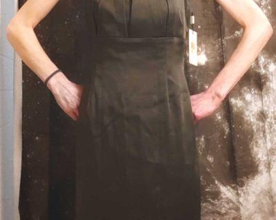 NWT Calvin Klein Women's Vintage Hunter Green Satin Sheath Dress Size 4