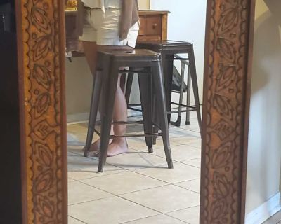 Beautiful wood framed mirror hand crafted by Jarris G. Strong