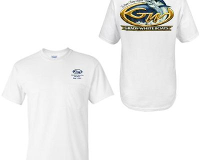 Grady White Boats Short Sleeve 100% Cotton Marlin Design Pocketed T-shirt