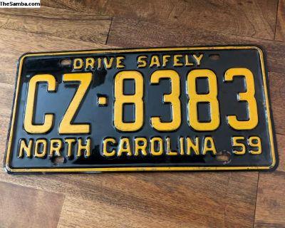 North Carolina 1959 License Plate
