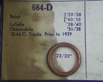 """1931 To 1938 Oldsmobile 23/32"""" Oil Plug Crushable Copper Bound Asbestos Gasket"""