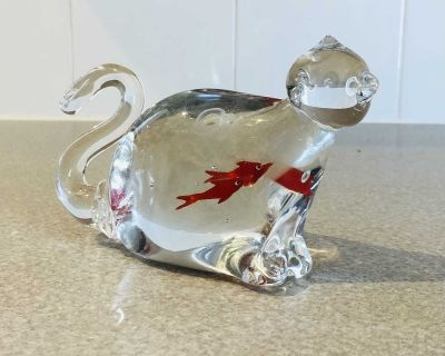 Adorable Murano Glass Style, Hand Blown Cat with Goldfish Belly