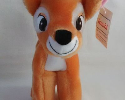 "Vintage 1980's Walt Disney Bambi Fawn Deer Stuffed Animal 7"" NEW w/Tag"