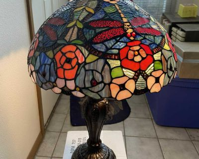 Tiffany Table Lamp Dragon Fly and Roses