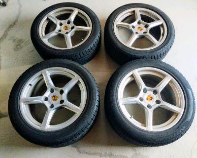 "*Like-New Porsche Boxster/Cayman OEM 18"" Wheels & Winter Tires"