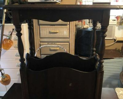 Solid 1950s wood double magazine end table