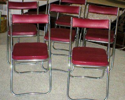 7 Folding Chairs Retro Chrome & Red Vinyl Padded Seats - FUJISET - Japan