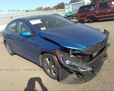 Salvage Blue 2017 Hyundai Elantra