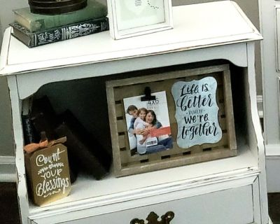 Vintage, White, Farmhouse, Rustic, Country, End Table, Nightstand