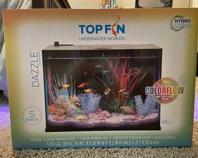 Top fin dazzle 5 gallon aquarium with heater, filter and decor