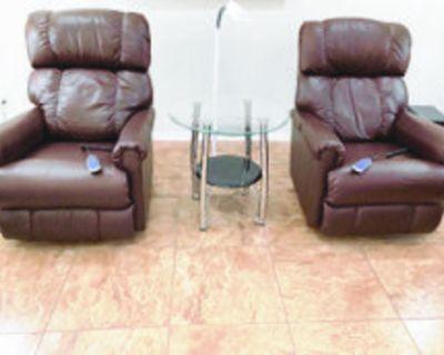 ROCKER RECLINERS 2 La-Z-Boy power rocker recliners, brown leather, 2 years old. $750...