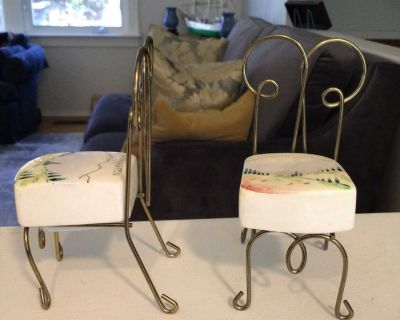 Sweet Vintage Porcelain and Metal Salt & Pepper Chairs