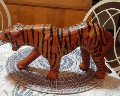 Vintage Large Leather Wrapped Tiger Sculpture