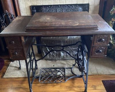 Old sewing machine table, no machine