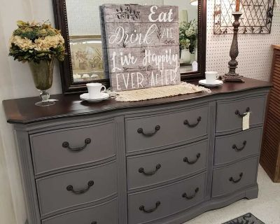 """Refinished 67"""" 9-drawer dresser, buffet/sideboard, entry or console table in gray"""