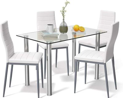 5 PCS Dining Table Set Modern Tempered Glass Top and PVC Leather Chair