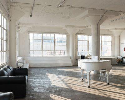 Beautiful White Loft Studio with White Piano, Steps, Lots of Daylight, Concrete & Wood Walls, Big Framed Windows - ART 1, Los Angeles, CA